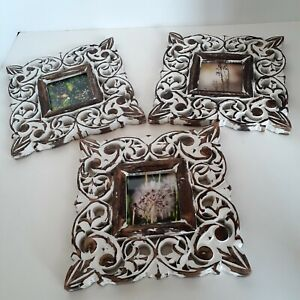 """White Wash on Wood 7"""" Square Frames, Set of 3 w/Floral Photographs, Shabby Chic"""