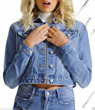 Button Waist Length Denim Floral Coats & Jackets for Women
