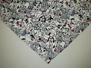 Dog Bandana/Scarf, Bones, Playful Dogs, Custom made by Linda, XS S M L