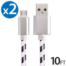 2x Micro USB Fast Charger Data Sync Cable Nylon Braided Cord for Samsung Android