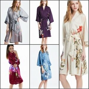 Damen Knie-lang Seide midi Kimono Morgenmantel Robe Nachthemd Japanisch Yukata
