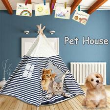 Faltbar Haustier Tipi Hundebett Katze Zelt Haus Abnehmbar Waschbar Gestreift N I