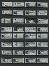 GB ARMY FIELD POST OFFICE REGISTRATION LABELS 32 DIFF.OFFICES HANDSTAMPS 1to308