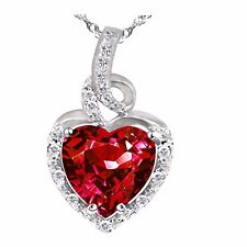 "Pws038cr Sterling Silver 8mm Heart Cut Created Ruby Pendant With 18"" Chain"