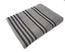 2 X STRIPED BRIGHT 100% COMBED COTTON SOFT ABSORBANT BLACK GREY HAND TOWELS