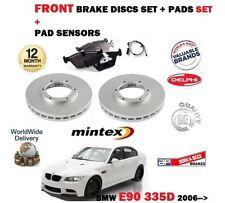 FOR BMW 335D E90 2006-2012 NEW FRONT BRAKE DISCS SET + PADS + PAD SENSOR KIT