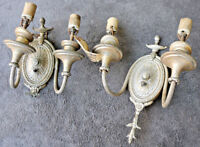 PAIR Vintage Antique Lamp Light Old Wall Fixture Sconce Ornate Parts Embassy KD