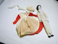 Vintage Bisque Porcelain Hand Painted Cloth Doll Dressed In Red Dress & Bounnet