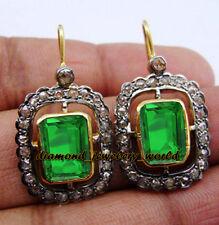 Emerald Studded Silver Earring Jewelry Artdeco Estate 1.66cts Rose Cut Diamond