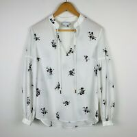 Witchery Womens Blouse Size 6 Floral Long Sleeve White Good Condition
