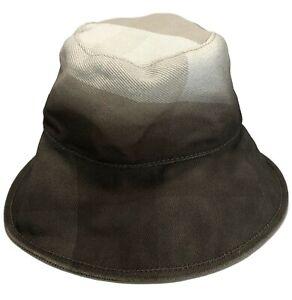 BURBERRY GRAY DEGRADE CHECK COTTON HAT, S, $345