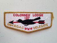COLONNEH OA LODGE 137 SCOUT SERVICE PATCH FLAP GMY NOAC 1994 DELEGATE