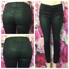 J Brand Skinny Leg Diff Jade Green Waxed Ankle Low Rise Stretch Jeans Sz 29