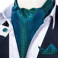 Blue Green Plaids Checks Mens Silk Ascot Cravat Tie Set Wedding Jacquard Woven