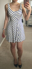 bebe Nautical Blue White Mixed Diagonal Striped Fit and Flare Skater Dress XS