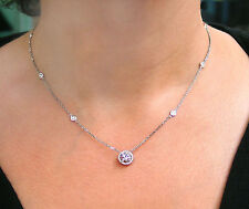 "1.40 CT NATURAL DIAMOND BY YARD VS2/F NECKLACE WITH HALO CENTER 18"" 14K W. G."