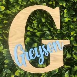 Large Wooden Personalised Kid Room Decor Sign, Nursery Name Letter for Baby Wall