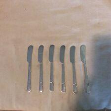 6 Pcs Oneida Prestige Silverplate Flatware Grenoble Flat Handle Butter Spreaders