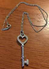 Mint Authentic Tiffany & Co 750 18K White Gold Necklace & Diamond Heart Pendant