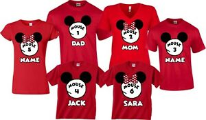 Mouse 1 , Mouse 2 FAMILY VACATION DISNEY Mickey and Minnie Custom name T-Shirts