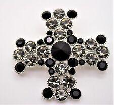 HIGH QUALITY CROSS STYLE BLACK DIAMOND/BLACK  FASHION BROOCH & PENDANT #1