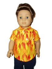 Fire Flames Shirt doll clothes for Boys fits American Girl Boy dolls