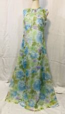 Vintage 1960's Floral Maxi Dress Sleeveless Medium Blue A Line