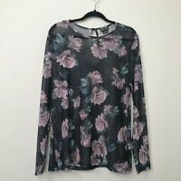 City Chic Womens Blouse Top Floral Long Sleeve Sheer Plus Size S 16