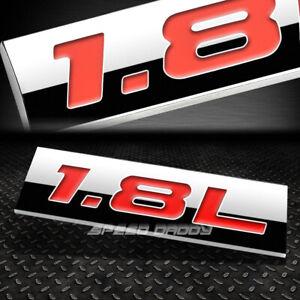 METAL EMBLEM CAR BUMPER TRUNK FENDER DECAL LOGO BADGE CHROME RED 1.8L 1.8 L