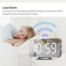 Digital Alarm Clock LED Display Portable Modern USB/Battery Operated Mirror
