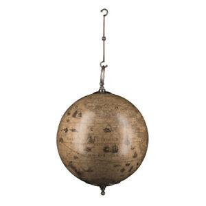 """Jodocus Hondius 1627 Hanging World Globe Pewter Finish Hooks 13"""" Nautical Decor"""