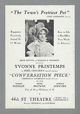 "Yvonne Printemps ""CONVERSATION PIECE"" Pierre Fresnay / Noel Coward 1934 Flyer"