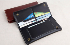men women wallet purse cow Leather Bifold mobile iphone Holder bag black z523