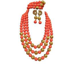 3 Layers African Party Wedding Necklace Earring Bracelet Wedding Jewellery Set