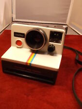 "NICE OLDER VTG POLAROID ""ONE STEP"" LAND CAMERA, WHITE WITH RAINBOW STRIPE, VGC"