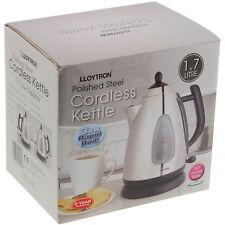 Lloytron 1.7 Litre 3000W Fast Water Boil Black Steel Cordless Electric Kettle