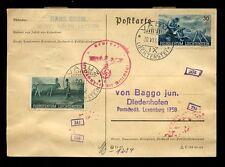 LIECHTENSTEIN 1941 to LUXEMBURG CENSORED POSTCARD...GROM...LUZERN