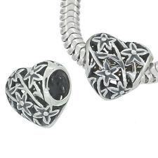 Antique Sterling Silver Filigree Heart European Charm Bead 11mm 1PC #97209