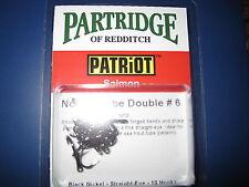 Partridge Patriot Size 6 Nordic Black Nickel Straight Eye Double Salmon Hooks
