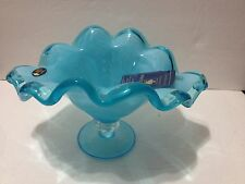 "Murano Art Glass Bowl Blue Aqua Scalloped Edges Pedestal Footed Dish 6"" Tall"