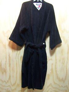 Tommy Hilfiger Men's NAVY BlueBathrobe Robe Terrycloth Heavy Cotton One Size