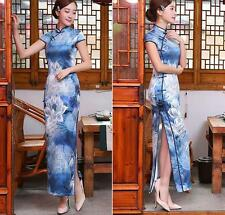 Blue Chinese long Charming Women's Qipao Dress Evening Dress Cheongsam Size XL