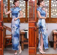 Blue Chinese long Charming Women's Qipao Dress Evening Dress Cheongsam Size XL
