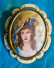 LIMOGES Thomas L. Mott Beautiful Antique Porcelain Brooch Original Box ca.1920