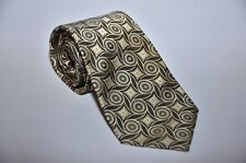 Lorenzo Cana Men's 100% Silk Satin Neck Tie Geometric w/Golden & Brown ITALY