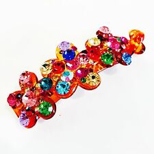 Hair Claw Clip using Swarovski Crystal Hairpin Ponytail Flower Barrette Colorful