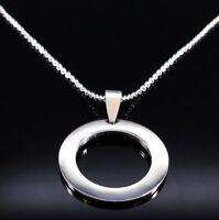 Statement Damen Halskette Edelstahl Geschenk-Idee Anhänger elegant Ring Rund
