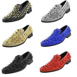 Bolano Amali Spiked Designer Smoking Slippers Mens Slip On Tuxedo Shoes 6 Colors