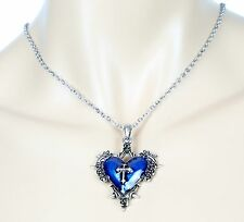 Blue Cross Heart Throne Spike  Steampunk Necklace Pendant Punk Gothic Cosplay