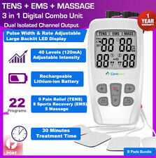 Dual Channel TENS Machine EMS 3 in 1 Combo Unit Pain Relief Massager+4 Pads